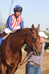 Dortmund ready to go in the winners' circle for the fifth time in a row. Photos by Terri Keith.