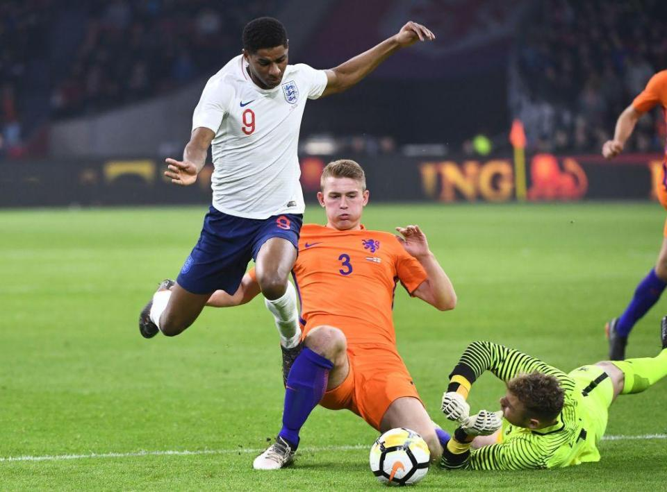 De Ligt has already won seven caps for the Netherlands at the age of 18  Everton plotting double swoop for Sporting winger Gelson Martins and Ajax wonderkind Matthijs De Ligt GettyImages 937115446