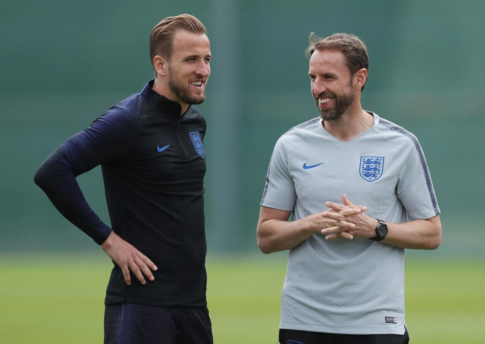 England boss Gareth Southgate and skipper Harry Kane during a training session  Live streaming, kick off time, confirmed team news and talkSPORT commentary for World Cup 2018 match GettyImages 973139944 e1528904773897