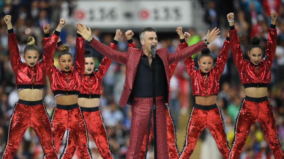 Robbie Williams lights up the Luzhniki Stadium  The best pictures from the opening ceremony GettyImages 974381206