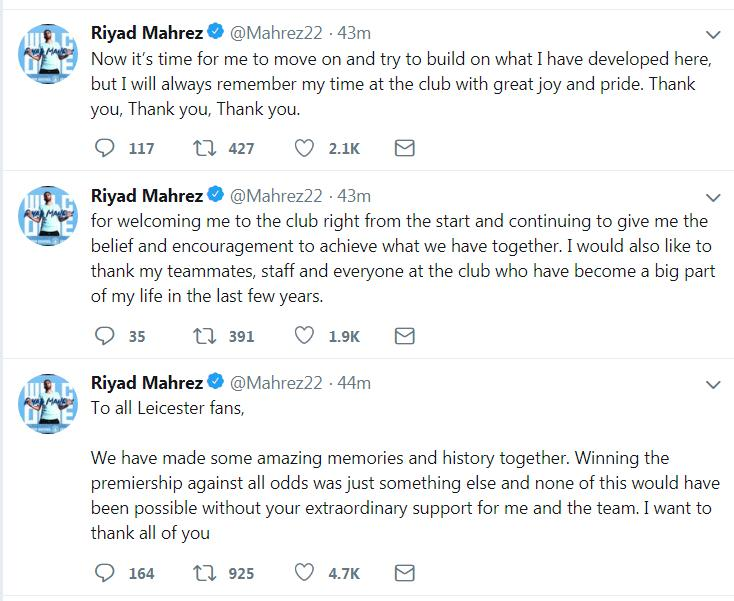 Mahrezs Tweets to the Leicester City fans