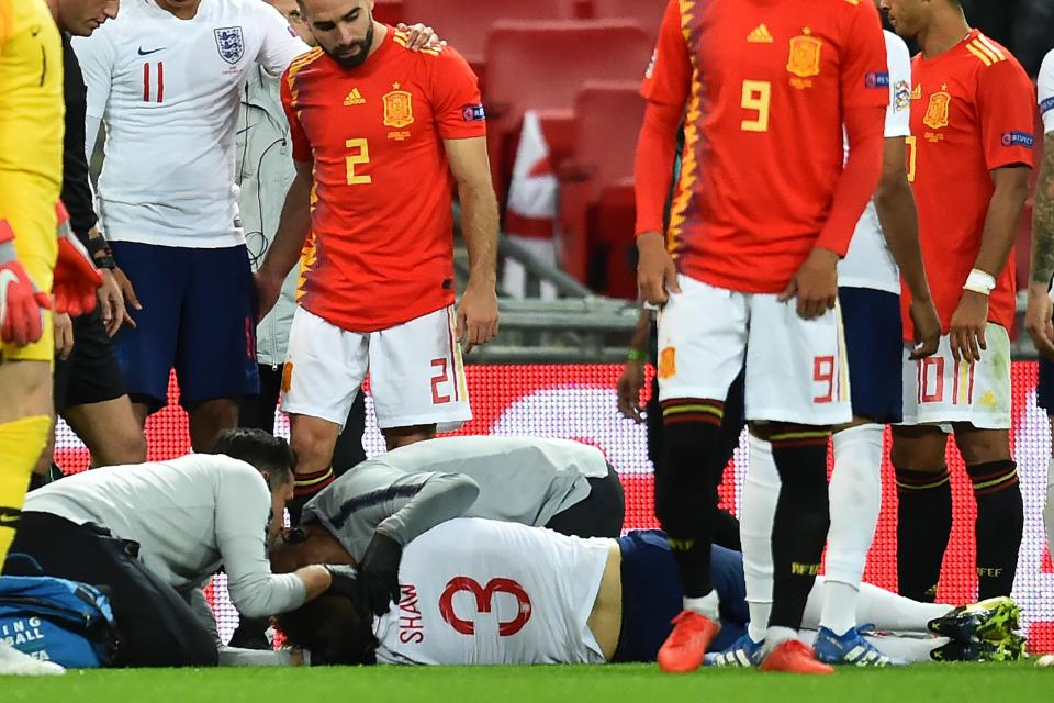 Shaw was injured on his last appearance for England  Luke Shaw returns to Manchester United with injury as Leicester City star Ben Chilwell gets called up in place GettyImages 1029392554