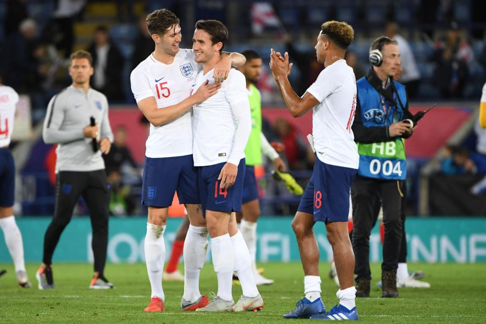 Ben Chilwell gets congratulated by his England teammates after making his debut at Leicester  Luke Shaw returns to Manchester United with injury as Leicester City star Ben Chilwell gets called up in place GettyImages 1031609300