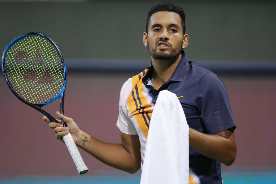 Kyrgios has been fined at the Shanghai Open in the past two years  Nick Kyrgios clashes with umpire and suffers shock Shanghai Open exit to Bradley Klahn in ill-tempered affair GettyImages 1047552142
