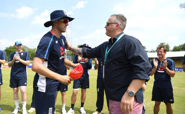 Olly Stone received his cap from talkSPORT's very own Darren Gough