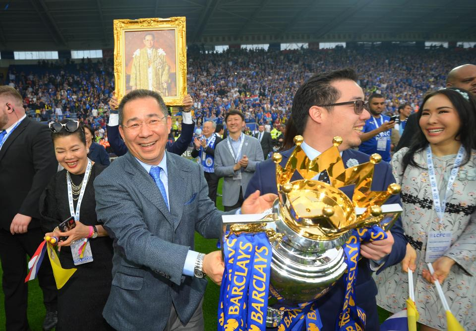 Vichai Srivaddhanaprabha celebrates Leicester's amazing title triumph  Leicester City confirm owner Vichai Srivaddhanaprabha one of five people to have died in helicopter crash GettyImages 528985996
