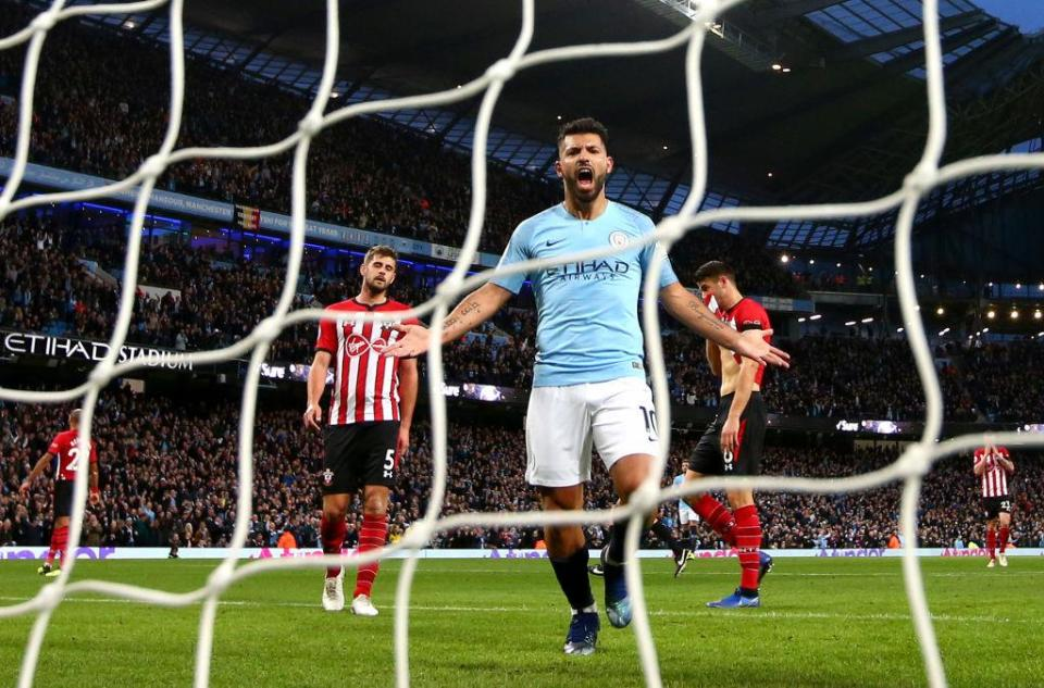 Sergio Aguero registered his 150th Premier League goal during the game  Pep Guardiola backs Raheem Sterling to continue improving after winger stars during Manchester City's thrashing of Southampton GettyImages 1057278604