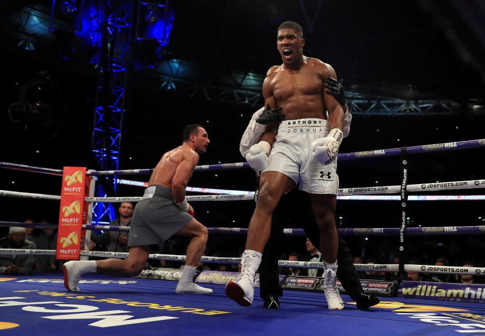Joshua knocked Klitschko down before he was almost knocked out himself
