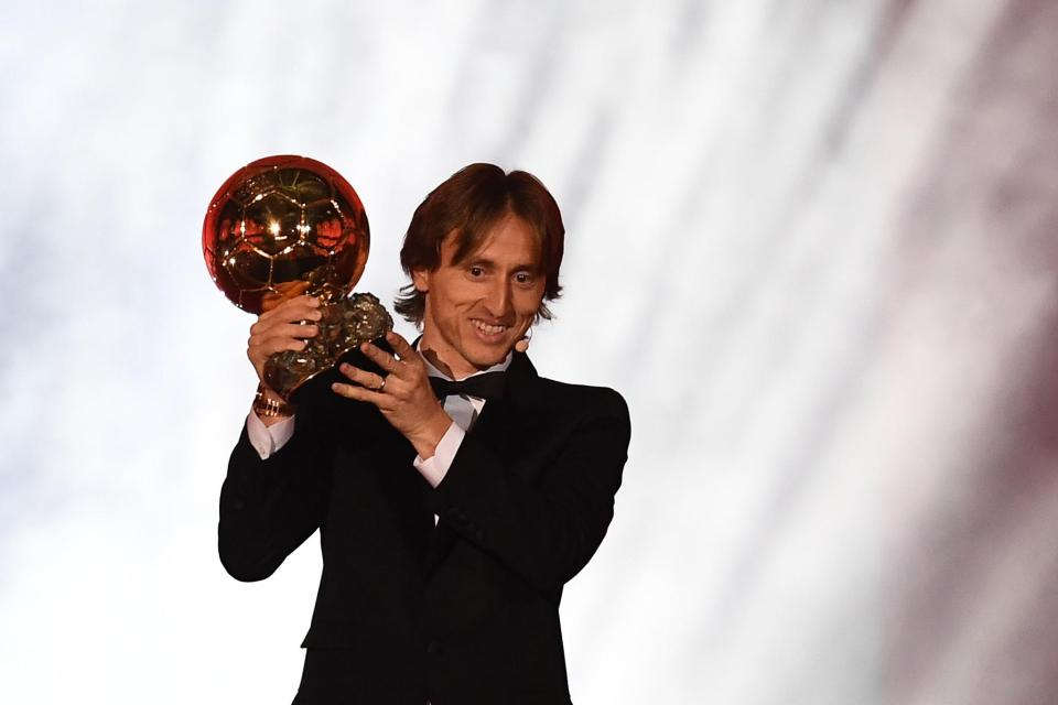 Real Madrid and Croatia midfielder Modric was awarded it following a fantastic season which also saw him named best player at the World Cup