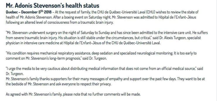 The written statement from Adonis Stevenson's doctors