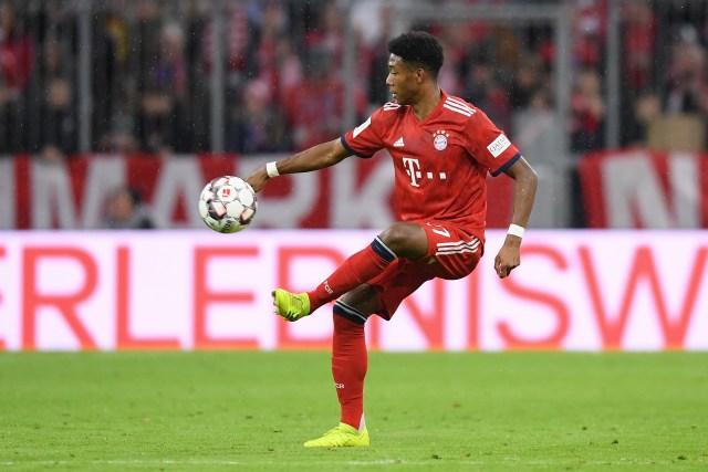 Arsenal fan David Alaba in action for Bayern Munich.