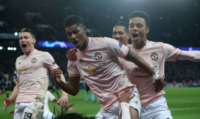 Rashford celebrates the winning goal