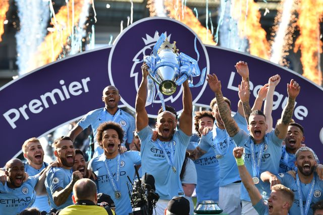 Manchester City were crowned Premier League champions after beating Brighton