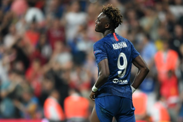 Chelsea's English striker Tammy Abraham reacts after failing his penalty during the shoot-out at the UEFA Super Cup