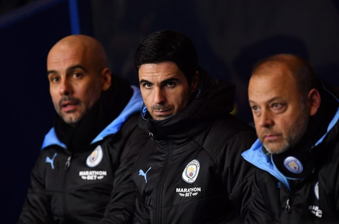Mikel Arteta looked glum on the bench at Oxford City as Manchester City progressed to the Carabao Cup semi-finals