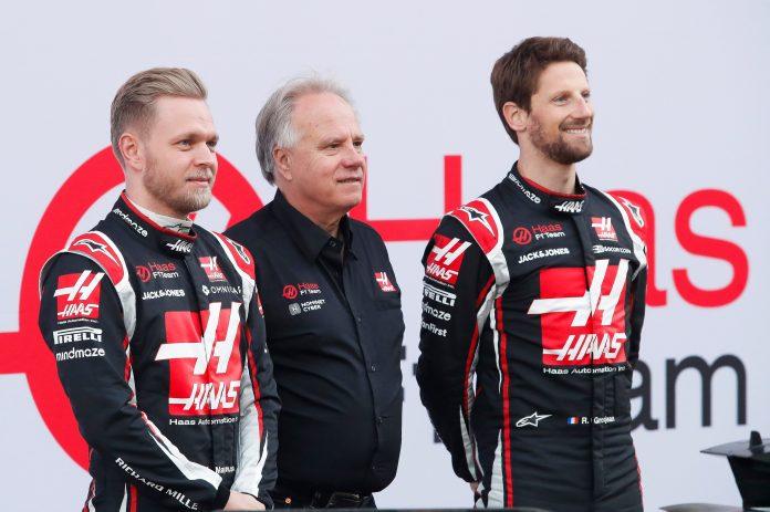 Haas F1 drivers Kevin Magnussen and Romain Grosjean
