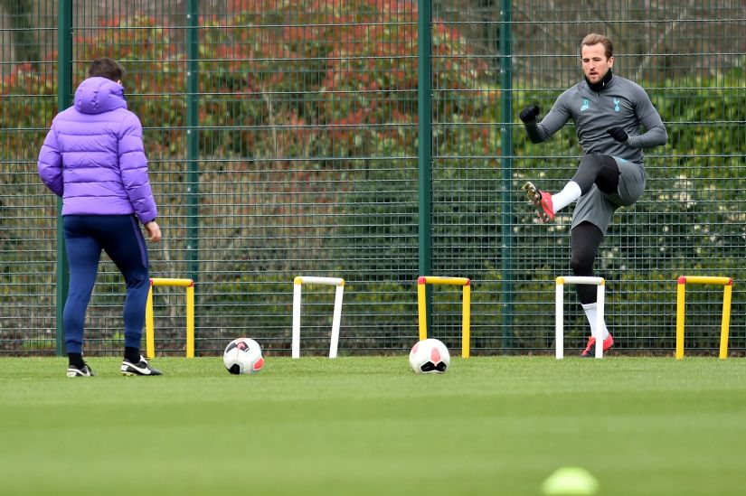 High Score Kane hopes to be back in action for Spurs before the end of the season and has recently returned to training