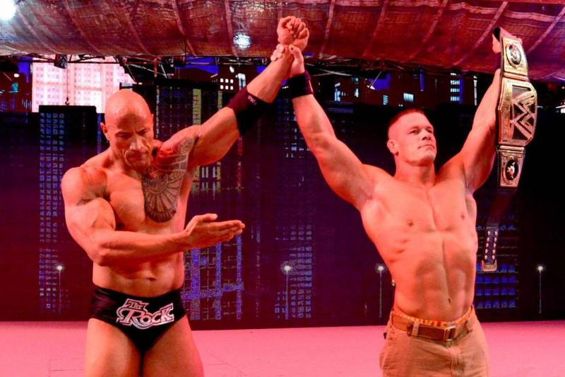 The Rock returned the favor and put John Cena at WrestleMania 29