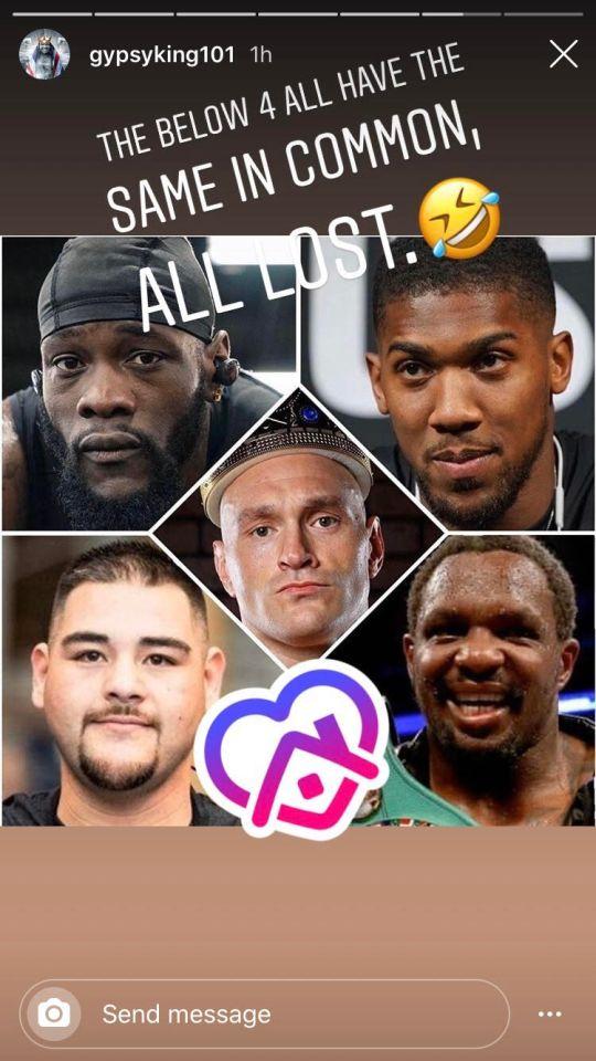 Tyson Fury mocked rivals on Instagram