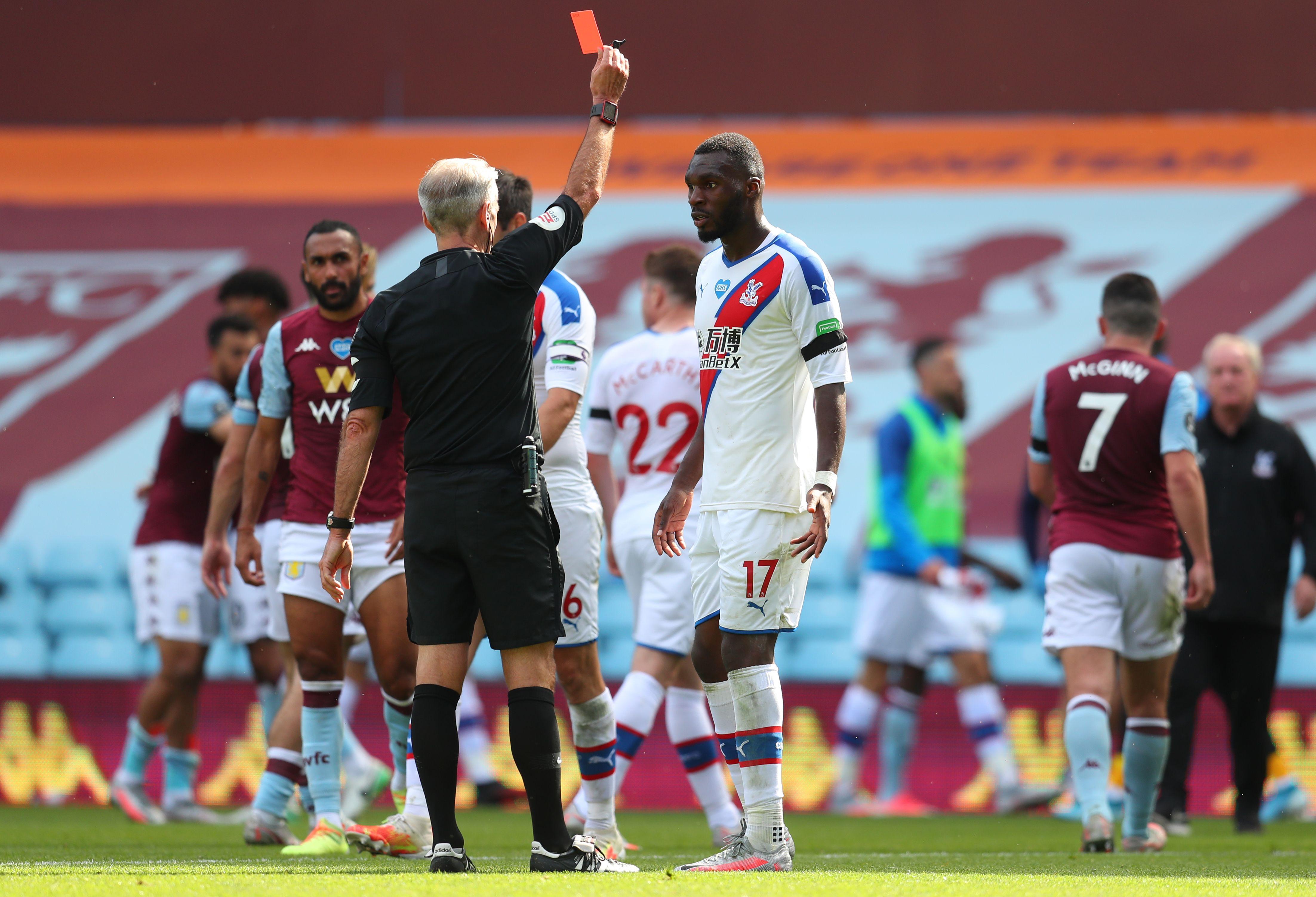 Crystal Palace striker Christian Benteke sent off for kicking Ezri Konsa AFTER full-time in Aston Villa clash thumbnail