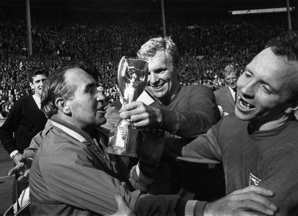 Stiles with Bobby Moore as England celebrates 1966 success