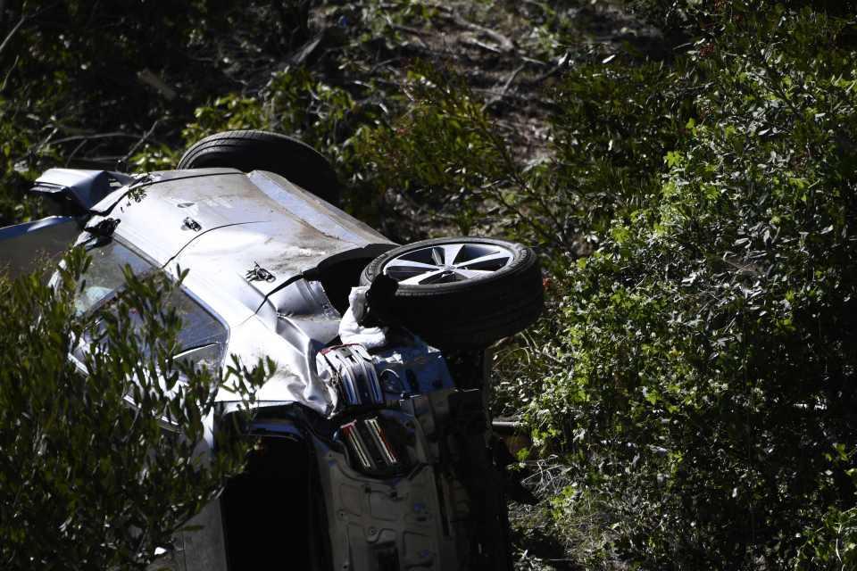 Woods' car was badly damaged