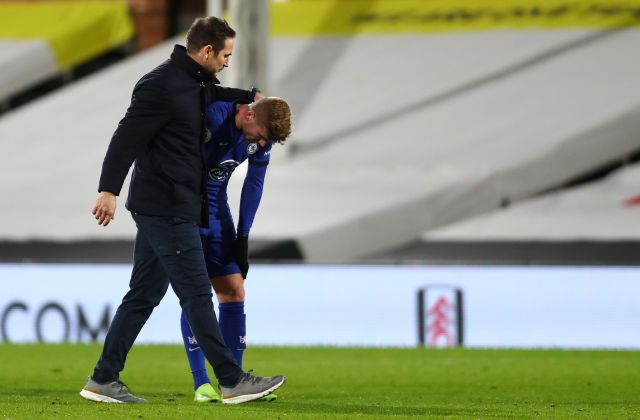 Frank Lampard appeared to console Werner after the full-time whistle