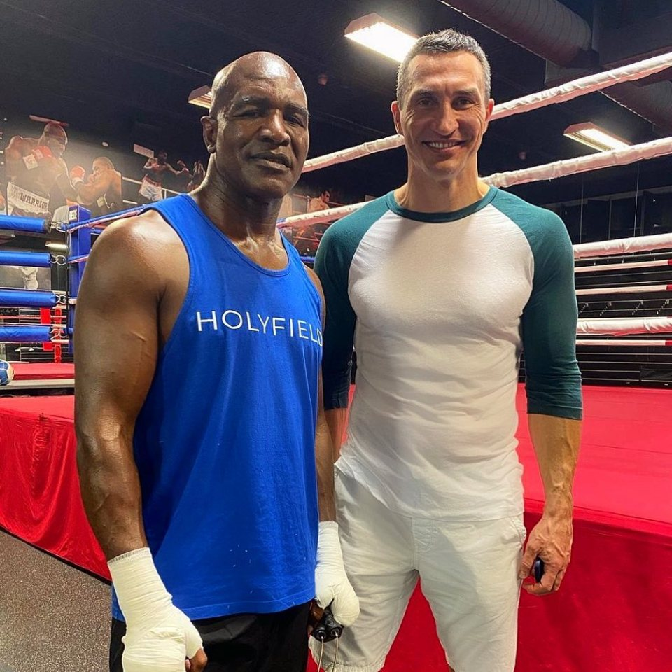 Holyfield also worked hard in the gym