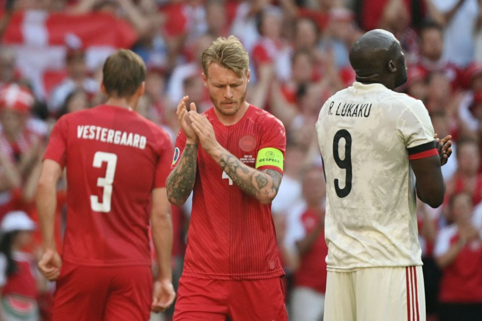 Danish and Belgian players all stopped to pay tribute to Eriksen