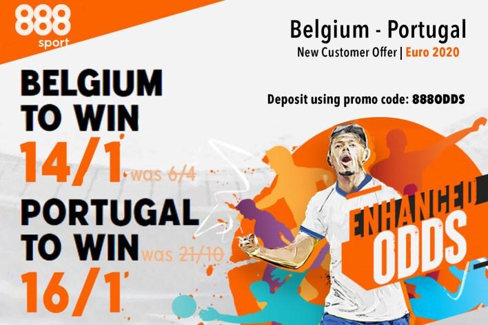 888 Sport özel: Belçika'yı 14/1'de veya Portekiz'i 16/1'de alın