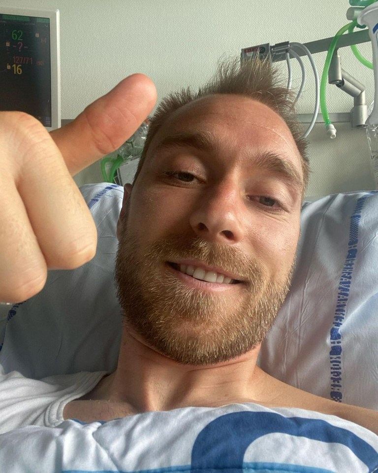 Eriksen posted a photo of himself from his hospital bed to his official Instagram page
