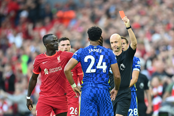 Chelsea defender James was sent off against Liverpool for a tough handball appeal on the goal line