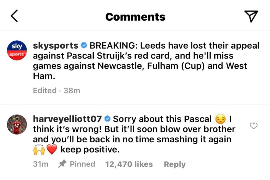 Liverpool's Harvey Elliott denounced the decision