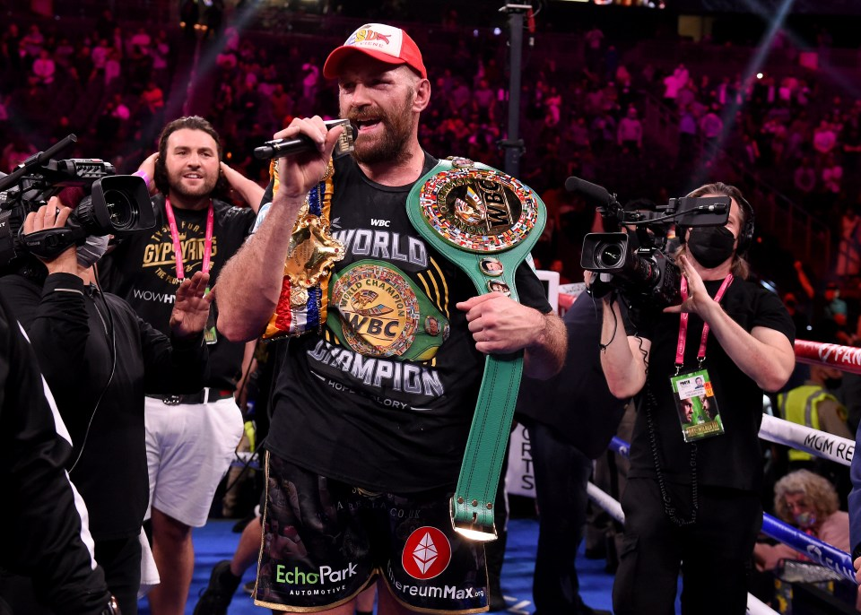 The WBC champion sang a rendition of