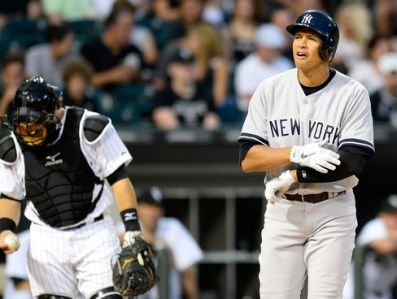 Alex Rodriguez wax drilled in the left arm with a 92 mph fastball last night.