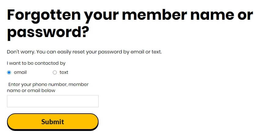 giff gaff forget password
