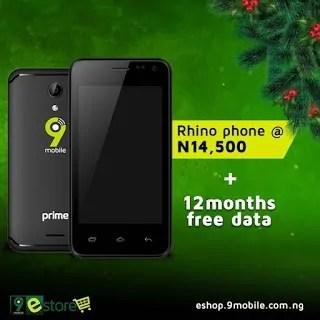 9mobile rhino 2 smartphone free data