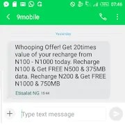 9Mobile Cheat for 2018; 750MB Data and ₦1,000 Airtime for ₦200