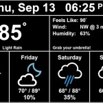 Raspberry Pi display showing Daily forecast