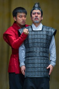 As you can see - he takes his destiny VERY seriously. Daisuke Tsuji (left) and Stan Egi in La Jolla Playhouse's production of THE ORPHAN OF ZHAO  photo by Kevin Berne.