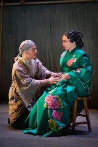 "KEVIN BERNE/AMERICAN CONSERVATORY THEATER Country doctor Cheng Ying (played by BD Wong), confers with Princess Zhao (Marie-France Arcilla) on a scheme to protect her orphan child-to-be in American Conservatory Theater s ""The Orphan of Zhao."""