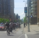 Cyclists took advantage of the new cycle track on 12 Ave. SW