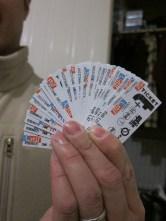 Little travel ticket vouchers.
