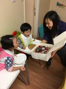 Ashton was so happy to see the cake!