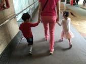 Walking with grandma.