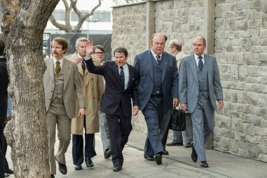 """TIMELESS -- """"The Day Reagan Was Shot"""" Episode 208 -- Pictured: (l-r) Bryan Friday as SS Agent Jerry Parr, Jefferson Black as President Ronald Reagan, John Clinton Culp as Officer Delahanty -- (Photo by: Colleen Hayes/NBC)"""