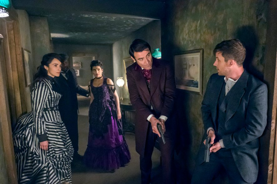 "TIMELESS -- ""A History of San Fran"" Episode 210 -- Pictured: (l-r) Abigail Spencer as Lucy Preston, Malcolm Barrett as Rufus Carlin, Goran Visnjic as Garcia Flynn, Matt Lanter as Wyatt Logan -- (Photo by: Ron Batzdorff/NBC)"