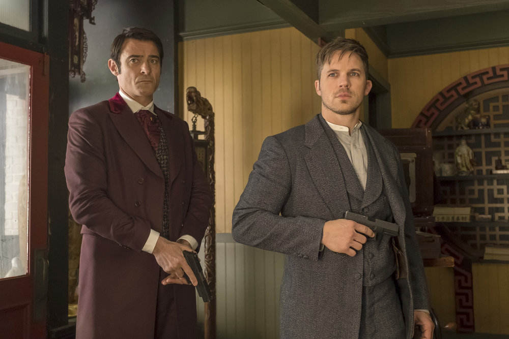 "TIMELESS -- ""A History of San Fran"" Episode 210 -- Pictured: (l-r) Goran Visnjic as Garcia Flynn, Matt Lanter as Wyatt Logan -- (Photo by: Ron Batzdorff/NBC)"