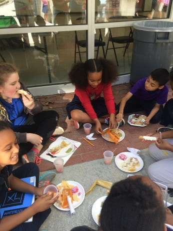 Students eat Mexican fare.
