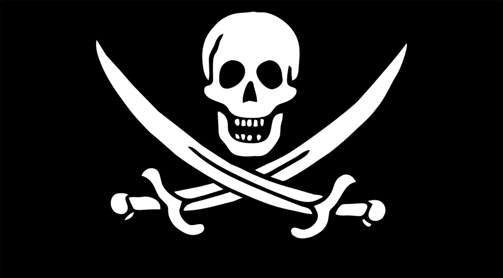 """Pirate Flag of Jack Rackham"" by Unknown - Open Clip Art Library. Licensed under CC0 via Commons - https://commons.wikimedia.org/wiki/File:Pirate_Flag_of_Jack_Rackham.svg#/media/File:Pirate_Flag_of_Jack_Rackham.svg"